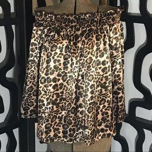 Zenobia Plus Size Leopard Off the Shoulder Blouse
